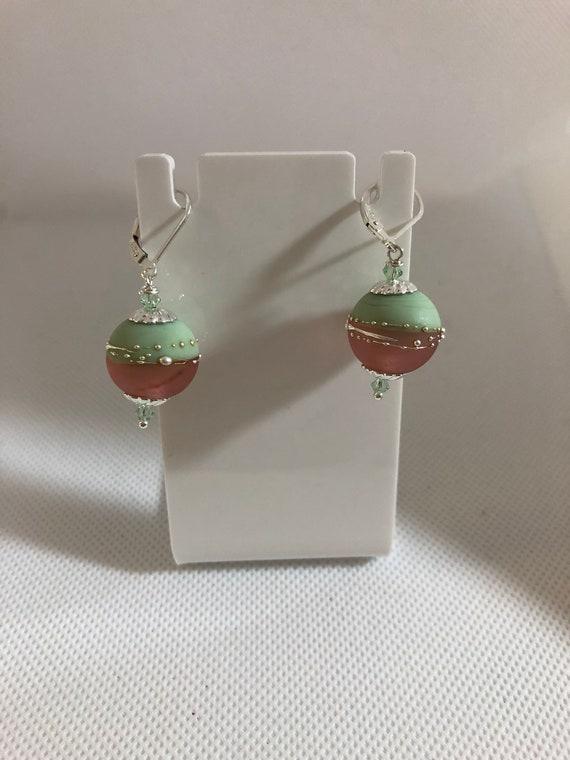 Lampwork Glass  Beaded, Pierced Dangle Earrings, SS Leverbacks, Pink,Green, Gifts for Teen, Women, BoHo Earrings, Free Shipping