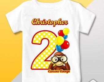 Curious George T Shirt, Curious George Birthday Shirt, Birthday Party, Personalized Curious George Outfit, Curious George Birthday