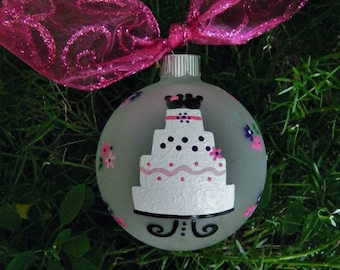 Disney Wedding Ornament - Wedding Cake - Personalized Hand Painted Christmas Ornament, Just Married Wedding Bauble, Mr and Mrs, Couples gift