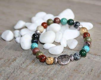 Bracelet 7 chakra beads natural 6mm - Jasper, Jasper Brechia Unakite, Rhodonite, Turquoise, Azurite, flaky Obsidian.