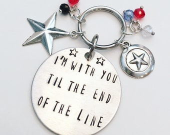I'm With You Til the End of the Line Stucky Bucky Barnes Winter Soldier & Captain America Steve Rogers Hand Stamped Charm Keychain