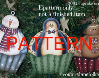 EPATTERN, 0032 cupcake ornaments, penguin pattern, snowman pattern, gingerbread pattern, painting patterns, tole painting pattern