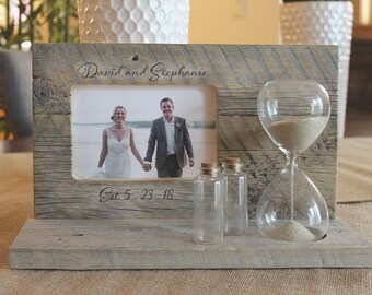 Sand Ceremony Set with Custom Engraving and Hourglass Beach Wedding Blended Family