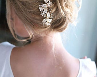 Gold Bridal Hair Comb, Floral Wedding Hair Comb, Gold Headpiece, Floral Hair Comb, Bridal Accessory, Flower Hair Comb, Bridal Comb - 7008