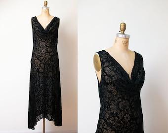 1990s Devore Velvet Dress / 90s Bias Cut Sheer Dress