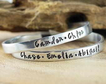 Personalized Name Cuff Bracelet, Custom Name Cuff Bracelet, Hand Stamped Bracelets, Mothers Bracelet, Name Bracelet, Name Gift