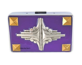 Geometric Design RFID Wallet with Credit Card Organizer Inlaid in Hand Painted Purple Opaque Enamel Assorted Colors and Personalized Options