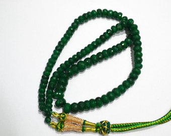 AAA Quality Emerald Micro Faceted 18 inch Necklace