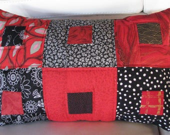 Red and black patchwork Cushion cover