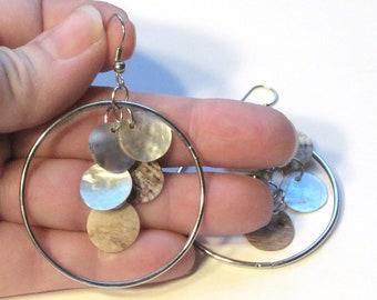 Gypsy earrings ~ Creamy Colored Natural Iridescent Shell Chandelier Earrings ~ Hoop Dangles with Shepard Hook Earwires