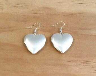 Silver Heart Locket Earrings - Free Shipping Worldwide