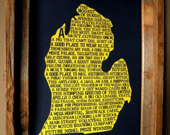 Ann Arbor In A Nutshell - University of Michigan - Word Art Map Print - Unframed
