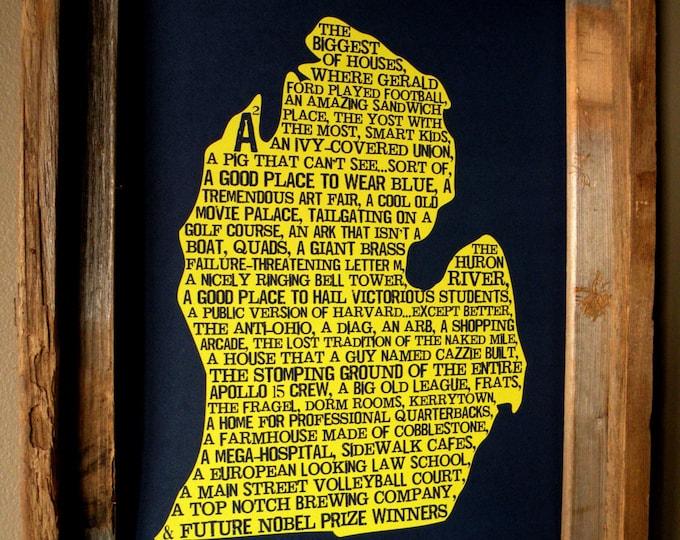 Ann Arbor In A Nutshell - University of Michigan - Word Art Map Print - Unframed