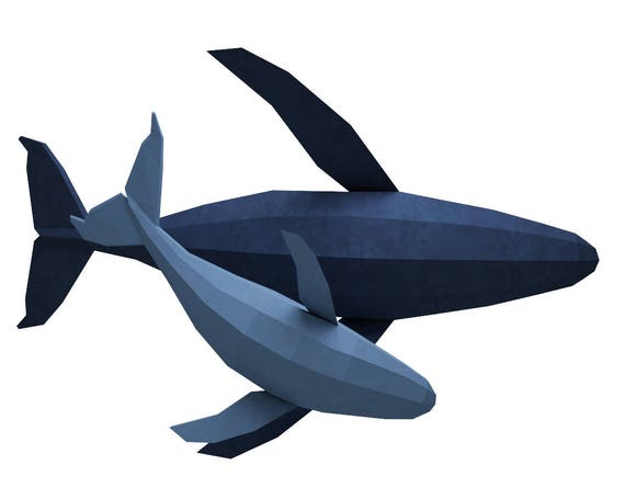 papercraft whale 3d family of whales paper model paper sculpture paper craft animals pdf fish kit template origami dolphin pepakura from inartcraft