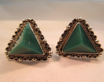Native American Sterling Silver Turquoise Earrings Signed Mexico