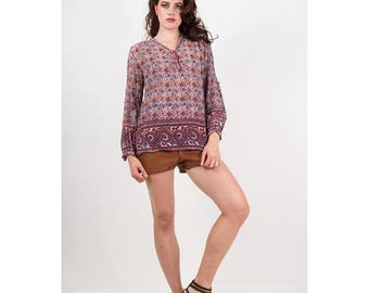 Vintage India cotton blouse / 1970s Paper thin gauze Indian floral / Pinot noir peasant blouse S M
