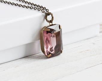 Lavender Rhinestone Necklace, Light Purple Pendant on Antiqued Brass Chain, Lilac Purple Necklace, Vintage Glass Jewel, Retro Style Jewelry