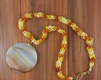 Necklace: Round Pendant in Natural Agate, red, orange, yellow; gift for him, gift for her