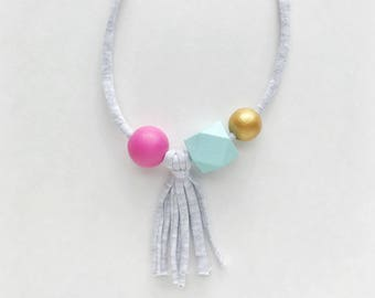 THE SUMMER Cloud Tassel modern girls necklace, kids necklace, petite handpainted wooden bead necklace on fabric string