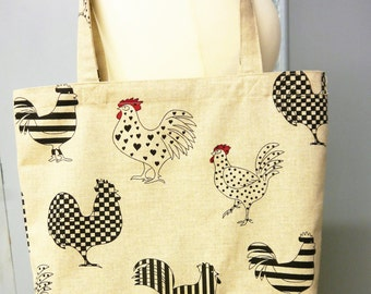 Linen Tote Bag -  Grocery Bag - Shopping Bag  - Funky Roosters  with Red with White Polka Dot Base - Handmade