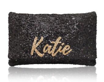 Personalized name monogram sequin clutch purse black