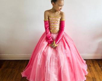 Princess Aurora Inspired Dress, Party, Prom, FREE Tiara! Made to Measure.