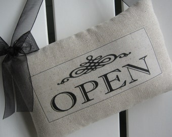 Reversible, OPEN and CLOSED Door Sign, Shop Accessories, Quiet Please, Do Not Disturb Signs, Custom Sign, Business, Cafe, Gift Shop, Retail