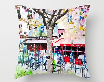 Paris Spring Watercolor Pillow Cover.Colorful Cafe with Bicycles Painting, Paris Pillow, Pretty Colorful Watercolor Pillow, Paris Painting,