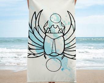 Blue Scarab Beach Towel