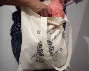 Tote bag. reusable bag. school bag. Shopping bag. Kit survives knitter.