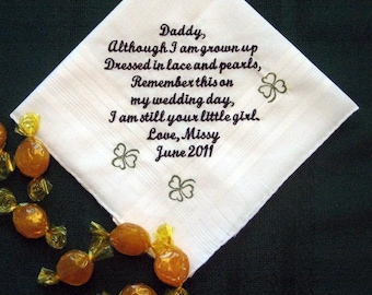 Dad with Clovers from the Bride with Gift Box 105S Personalized Wedding Handkerchief