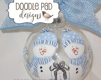 Twins Christmas Ornament, Sibling Ornament, Snowman ornament, Personalized Gift