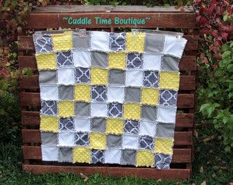 "Grey, Butter Yellow, White Minky Rag Quilt 35"" x 35"""