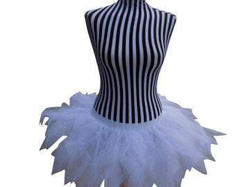 UV White 6 Layer Tutu Skirt Hen Party Bride 1980s Fancy Dress