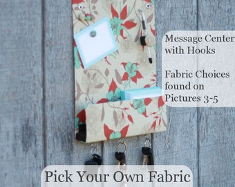 Message Center Magnet Board with Key Hooks - Pick your Own Fabric