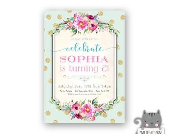 2nd Birthday Invitations for Girls / Kid's Birthday Party Invites / Mint Blue Green Pink / Gold Glitter Whimsical Polka Dots / Shabby 39a