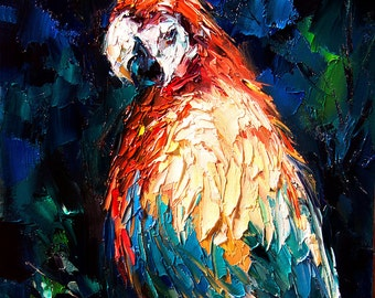Parrot Art | Giclee Print of Palette Knife Painting | Parrots | Parrot Print of Oil Painting