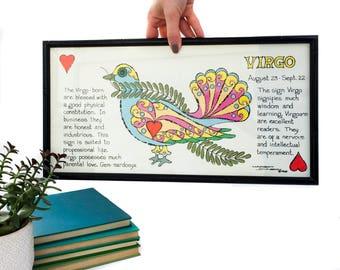 Vintage Margot Johnson Virgo Zodiac Sign Wall Hanging Framed Vintage Wall Art Print Horoscope Astrological Sign  Framed Pop Art Print 1968