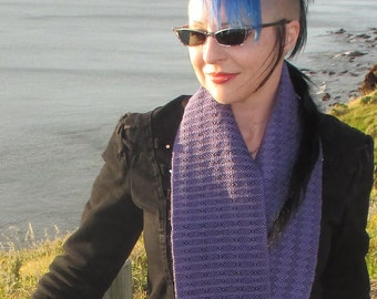Handwoven Infinity Scarf Cowl - Purple + Black