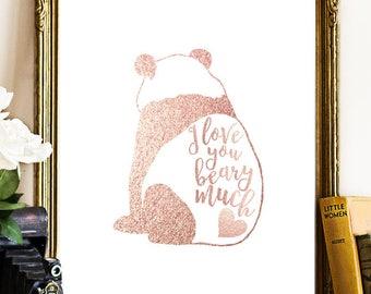 I Love You Beary Much - Bear Pun Print - Bear Kids Print - Bear Nursery Print - Bear Printable - Animal Nursery - Instant Download 8x10 art