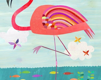 Very Pink Flamingo, Canvas Art Print for Girl's Room, Beach House or Nursery