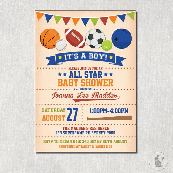 SPORTS Baby Shower Invitation Vintage All Star DIGITAL