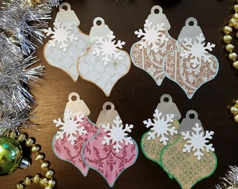 Ornament Tag Design 02 with Snowflake embellishment Holiday Gift Tags Set of 8