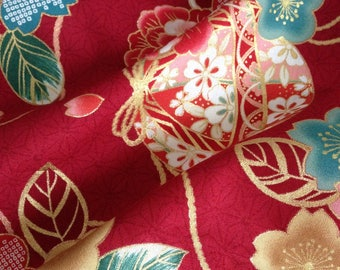Japanese fabric, traditional Temari and flowers, red background 110 x 50 (004 (A)