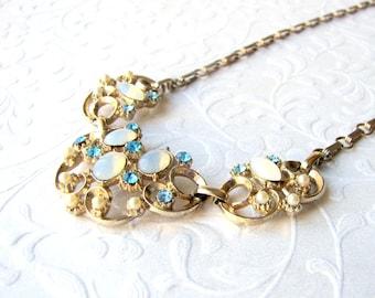 Vintage Opal Glass Necklace Aqua Rhinestone Pearl Gold Scallop Scroll Something Blue Beach Bride Wedding Formal Evening Prom Costume Jewelry