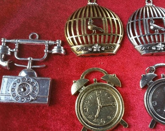 Large charm pendent CHOOSE 1, Telephone. birdcage Clock, metal charm gold and silver.