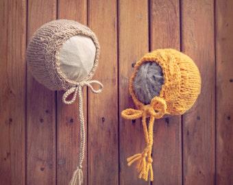 PDF Knitting Pattern - newborn photography cable edge luxury bonnet #76