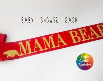 Red Mama Bear Sash, Mom to be Sash, Maternity photo prop, Pregnancy Sash, Baby Bump Sash, Mum to be sash, Baby Shower gift, Gender reveal
