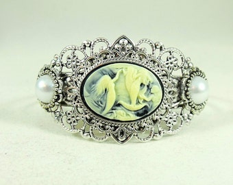 Mermiad , Bracelet Cuff Cameo Silver With Pearls  Womens Gift Handmade