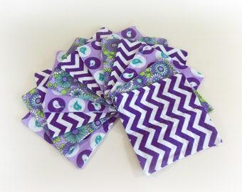 Cloth Wipes, Washcloths, Burp Cloths, Handkerchiefs Set of 12 in Purple Birds, Flowers, & Chevron Prints